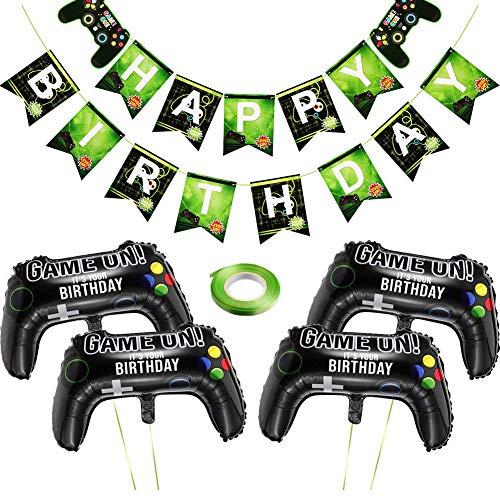 Video Gaming Partyzubehör Set - BESLIME Geburtstagsdeko Birthday Girlande mit Konfetti Luftballons,Joystick Controller Ballon für Jungen Geburtstagsfeier
