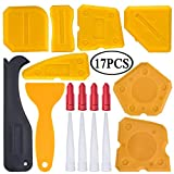 17 Pieces Caulking Tool Kit Silicone Sealant Finishing Tool Grout Scraper Caulk Remover and Caulk Nozzle and Caulk Caps (Yellow) …