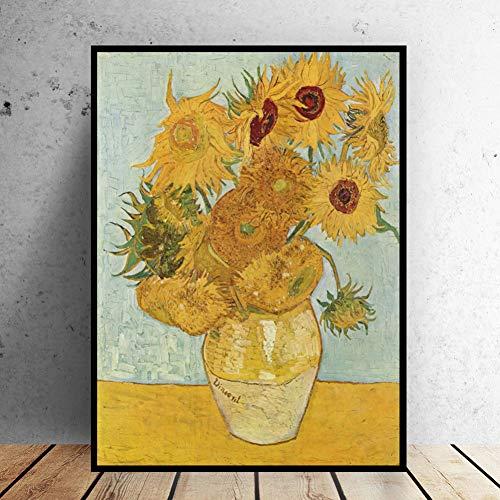 ZWBBO Canvas schilderij Decoratieve schilderijen muur Foto olie schilderij vaas met twaalf zonnebloemen impressionist schilder print muur schilderkunst