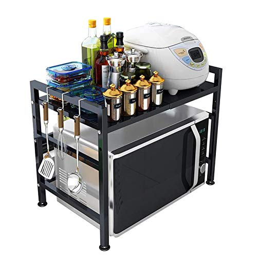 GXYAWPJ- Microondas Rack Carga Pesada Acero Carbono Extensible Cocina Estante de Especias con 3 Ganchos Regulable Altura Multifuncional Organizadora Negro Capacidad de Carga 25kg