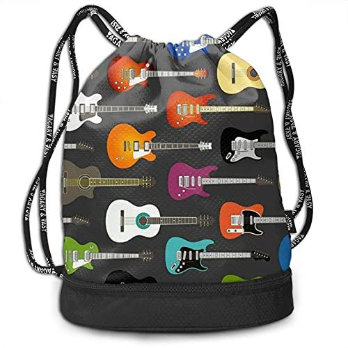 DJNGN Color acústico y Guitarras Mochila con cordón Gimnasio Compras Deporte Yoga Bolsa de Cuerda Mochila