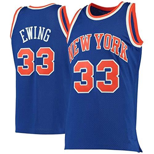 NBA Jersey Knicks # 33 Patrick Ewing Herren-Basketball-Trikots Fans Version der Stickgitter-Trikotwesten Oberteile Ärmellose Basketball-T-Shirts,A-33,S
