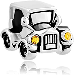 Vintage Car Charms Crystal Headlights Charms Beads for Bracelets