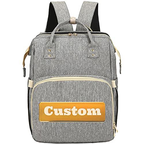 ZZMGDAM Personifizierter benutzerdefinierter Name Windel-Pad-Rucksack-Mutterschafts-Tasche Mädchen-Windel, die nasse wasserdicht wechseln (Color : Grey, Size : One size)