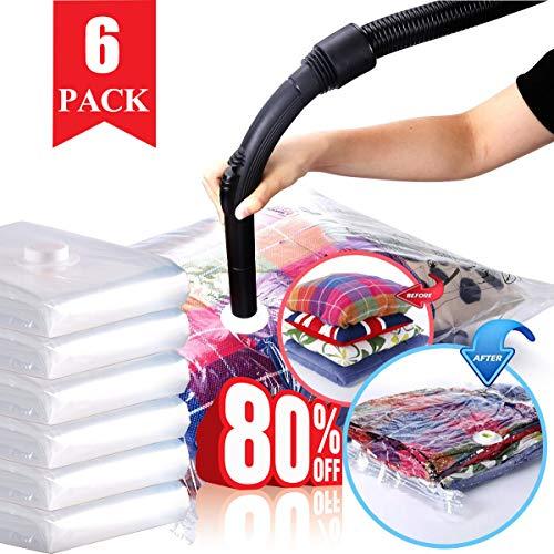 HELLOCAM vakuumbeutel für Kleidung/bettdecken/staubsauger, extra groß Bis zu 5X mehr Speicherplatz,Luftdicht wasserdicht Wiederverwendbarkeit, widerstandsfähig gegen Verschleiß und Abnutzung,6 teilig
