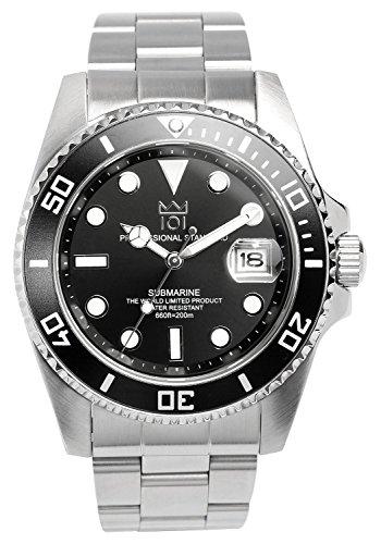 [HYAKUICHI 101] ダイバーズウォッチ 日付表示 20気圧防水 腕時計 HYAKU1-001 (ブラック)