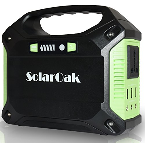 SolarOak Portable Solar Generator, 42000mAh 155Wh Energy Inverter Supply, Emergency Backup Battery Box with Flashlights, Power Station for Camping, Home, CPAP, Car (110V AC Outlet, 3x12V DC, 3X USB)