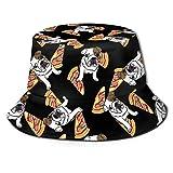 Bonito Sombrero de Cubo Unisex con Pizza de Bulldog inglés, Tela Que Absorbe la Humedad, protección Solar UV