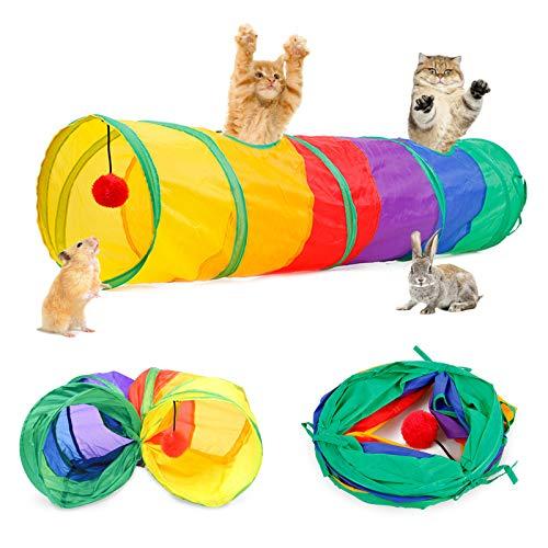 Katzenspielzeug Katzentunnel Kaninchen Tunnel Hamster mit Ball Pet Play Tunnel Tube Katzen Guckloch für Kleine Kaninchen Welpen Frettchen Meerschweinchen (Regenbogen, 1 Wege)