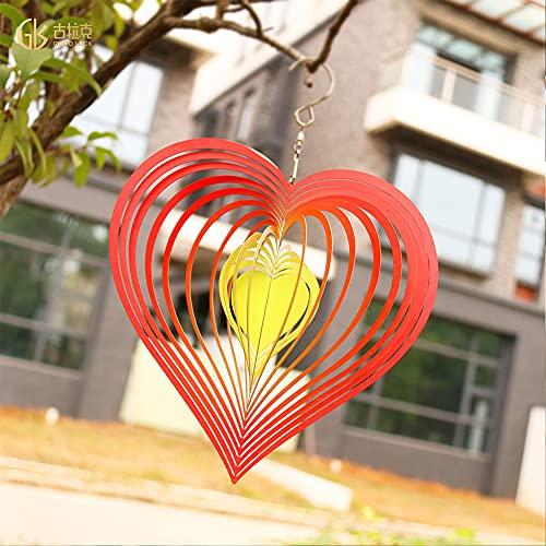 Golpeando Corazón Spinner Wind Catcher Creative Campanas de viento espejo giratorio Metal Decoración colgante (rojo)