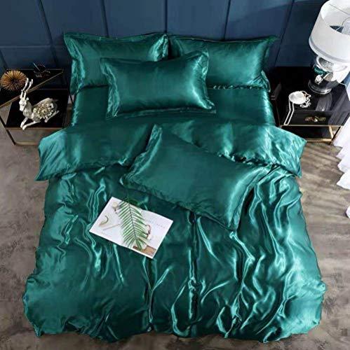 Bedding-LZ -Verano Hielo Seda de Cuatro Piezas 1,8 m de Cama Simple Hielo Fresco Seda simulación de Seda Estudiante Dormitorio Familia Familia Regalo Regalo-Mosca_1,8 m de Cama (4 Piezas)