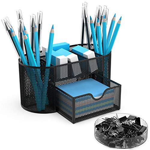BYLaconic Metall Schreibtisch Organizer, Büro Multifunktional Mesh Stiftehalter mit Zubehör Clips Sets für Büro Organizer/Klassenzimmer/Zuhause - Schwarz