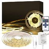 Tira de luz LED COB Blanca de 4000 K,PAUTIX Tira de Luz LED Flexible de 3 m, kit de Luz Regulable CRI80 + de Alta Gama con Control Remoto RF para Gabinete, Dormitorio, Hogar, Decoración de Bricolaje