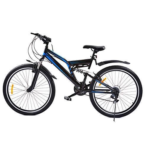 Z ZELUS 24 Inch Mountain Bike with 21 Speeds | 24er All-Terrain Bicycle with Full Suspension Dual V-Brakes Adjustable Seat for Dirt Sand Snow More | Adult Road Bike with Torch for Men or Women, Blue