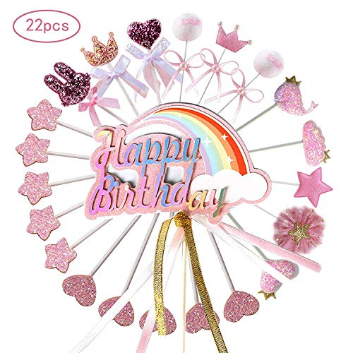 Ohighing Cake Topper Happy Birthday Rosa Kuchen Decoration Cupcake Toppers für Geburtstag Party Deko