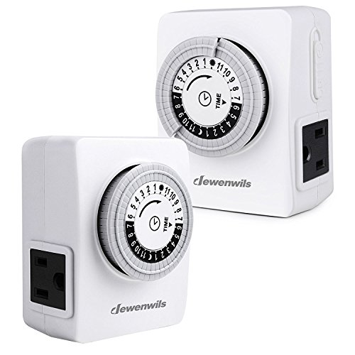 DEWENWILS 24 Hour Indoor Outlet Timer, Mechanical Light Timer with 2 Grounded...