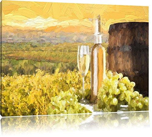 Pixxprint Weinreben mit Weinflasche und Fass / 120x80cm Leinwandbild bespannt auf Holzrahmen/Wandbild Kunstdruck Dekoration