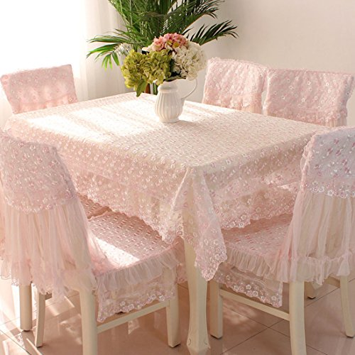 Country style check lace square chair back covers and cushion cover set