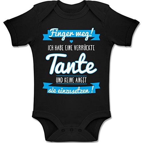 Shirtracer Sprüche Baby - Ich Habe eine verrückte Tante Blau - 1/3 Monate - Schwarz - Geschenke zur Geburt - BZ10 - Baby Body Kurzarm für Jungen und Mädchen