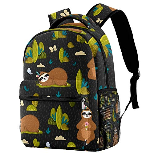 LORVIES Yoga Sloth With Flowers Bookbags Student Daypack Backpacks for Boys Girls