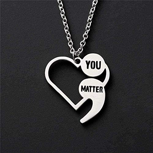 LBBYMX Co.,ltd Necklace Prevention Necklace Sensitization Point-Visix Coeur You are Important Pendant Necklace for Women