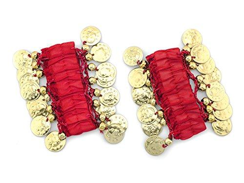 MyBeautyworld24 Belly-Dance Handkette (Paar) in rot mit goldfarbenen Münzen Armband Handschmuck Fasching Bauchtanzen