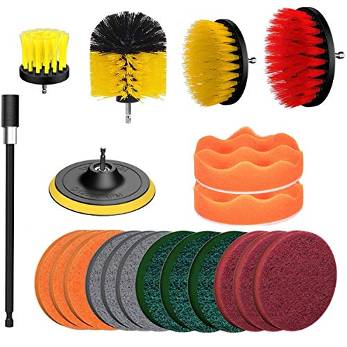 20Piece Drill Brush Attachments Set,Scrub Pads and Sponge, Power Scrubber Brush with Extend Long Attachment All Purpose Clean for Grout, Tiles, Sinks, Bathtub, Bathroom, Kitchen
