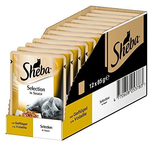 Sheba Selection in Sauce, Katzenfutter im Frischepack, Geflügel, 12er Pack (12 x 85 g)