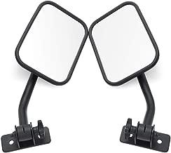MICTUNING Side Mirrors with Anti-Slip Mount Bracket, Adjustable for 1997-2018 Jeep Wrangler TJ JK LJ - 1 Pair, Textured Black