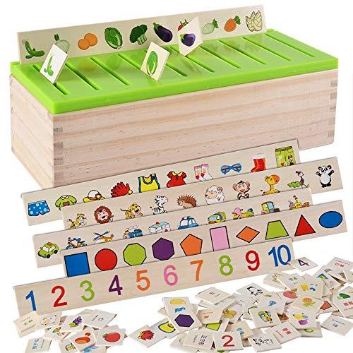 MMRM Montessori /Éducation Jeu en Bois Reconnaissance Jouet B/éb/é Enfants Apprentissage Bo/îte de Classification Math Jouets