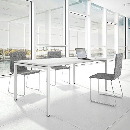 Weber Büroleben GmbH Profi Besprechungstisch 200x100cm NOVA U 4-8 Pers. Konferenztisch Meetingtisch, Gestellfarbe:Weiß