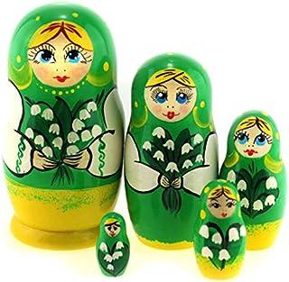 Azhna 5 pcs Nesting Doll Seasons Series Souvenir Matryoshka Home Decor Collection Hand Painted Russian Matryoshka Doll 10.5 cm Wooden Stacking Babushka Doll (Green)