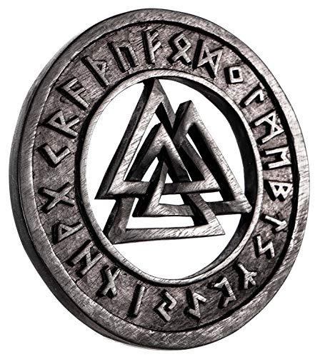Windalf Negras Vikingo asatru Madera de Valknut Diámetro 23cm wotans Nodos con runas Pared decoración Mano de Madera