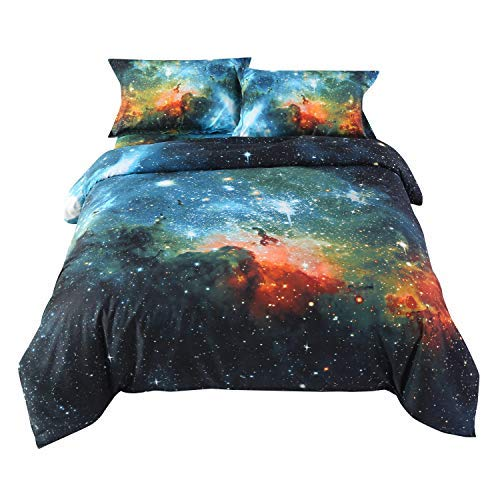 Ammybeddings Full Size Duvet Cover Sets Green,Luxury Galaxy Bedding,1 Bed Sheet,1 Quilt/Comforter Cover Full and 2 Pillow Shams,4 Piece Soft 3D Bedding Sets King/Queen/Twin