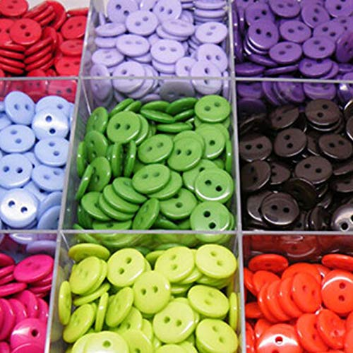 RSL Knoppen voor het breien babykleding Naaien Knoppen Plastic Kleding Gereedschap 6/9/11/13/15/20MM 100 stks 2 Gaten Ronde vorm Willekeurige Kleuren Kleding Accessoires