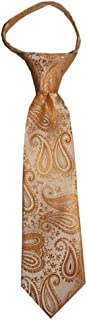 Toddler Tie for children ages 1-4 years old Peach Gold Paisley Zipper Tie