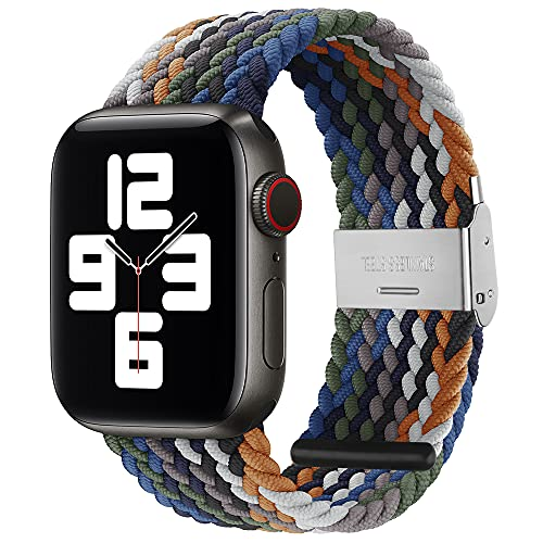 PROATL Sport Braided Solo Loop Strap Compatible With Apple Watch Band 44mm 42mm for Men and Women, Breathable Soft Wristband Stretchy Nylon Elastic Belt Bracelet for iWatch Series SE 6 5 4 3 2 1(Blue Rainbow)