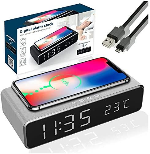 Carga inalámbrica Digital LCD Despertador Carga para Samsung Huawei Mi Almohadilla de carga inalámbrica Base de carga inalámbrica Estación de carga inalámbrica Samsung Carga inalámbrica (Plata)