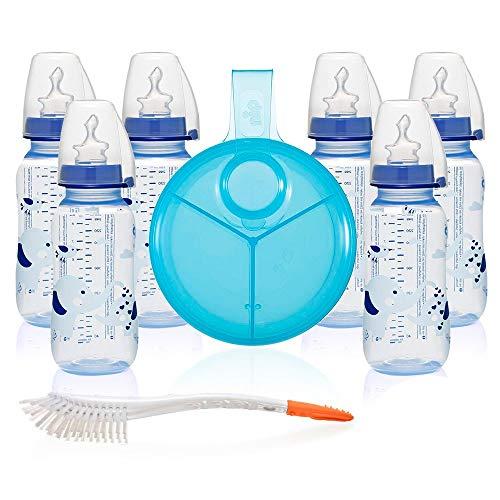 NIP PP Flaschen -Set Boy // Standardbabyflasche 250 ml // angenehm weiches PP // Sauger Silikon mit Anti-Kolik Ventil Größe Milch ab Geburt //inkl. Verschlußplättchen // Milchpulverportionier & Bürste