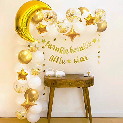 Sweet Baby Co. Twinkle Twinkle Little Star Baby Shower Decorations for Boy Girl with Balloon Garland Arch Kit, Light Gold Moon and Star Decorations Balloons, Wedding Decor, Gender Reveal Backdrop