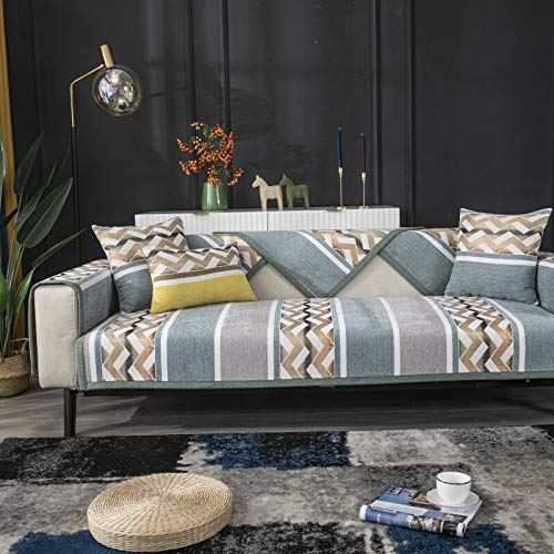 weichuang Funda de sofá nórdico para sofá de 2/3/4 plazas para sala de estar, funda de sillón a rayas, antisedoso, protector de muebles (color: NO.2, especificación: 70 x 70 cm, 1 unidad)