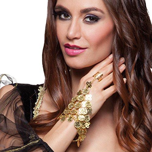 NET TOYS Orientalische Handkette mit Ring Bauchtänzerin Handschmuck Gold 1001 Nacht Schmuck Armreif Orient Armband Haremsdame