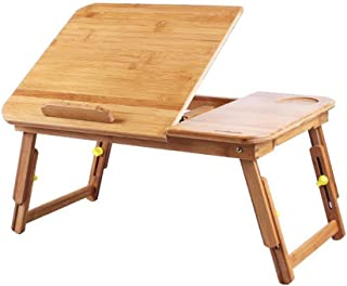 Chair 椅子 Tables Desk Large Bed Tray Adjustable Lap Tilting Top Foldable Multi-tasking Stand Breakfast Serving Bamboo Suppo...