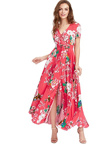Milumia Women's Button Up Split Floral Print Flowy Party Maxi Dress Medium Red