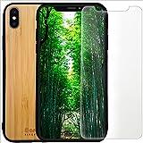 Custodia in legno di bambù per iPhone 11 + protettore di schermo in vetro temperato + supporto per telefono, imballaggio 0 plastica