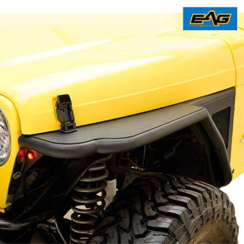 EAG Black Front Steel Fender Flare with Eagle LED Light Mesh Insert Fit for 97-06 Wrangler TJ