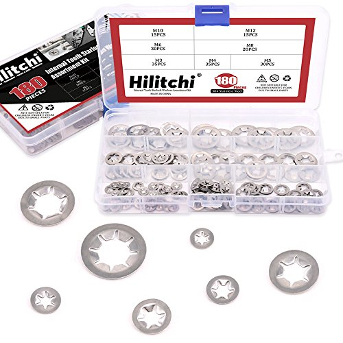 Hilitchi 180 Piece 304 Stainless Steel Internal Tooth Starlock Washers Quick Speed Locking Washers Push On Speed Clips Fasteners Assortment Kit - 7 Size