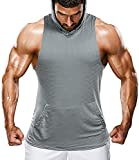 We1Fit Men's Workout Sleeveless Hoodie Gym Bodybuilding Hooded Tank Top with Pocket Grey