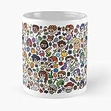 Taza de café de cerámica blanca de Stardew Valley Doodle de 11 oz para hombres, mujeres, niños y niñas.