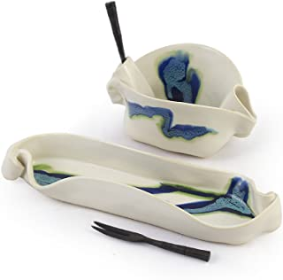 Aurora Collection 2-Piece Handmade Pottery Hors d'oeuvre Appetizer Serving Dish Set in Blue White
